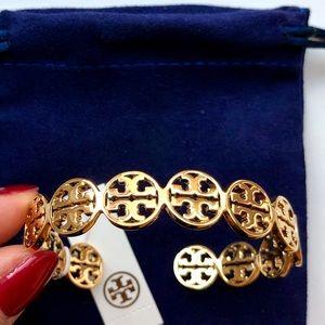 NWT Tory Burch Gold Logo Cuff Shiny Brass Bracelet